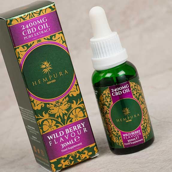 hempura wild berry cbd oil box and bottle